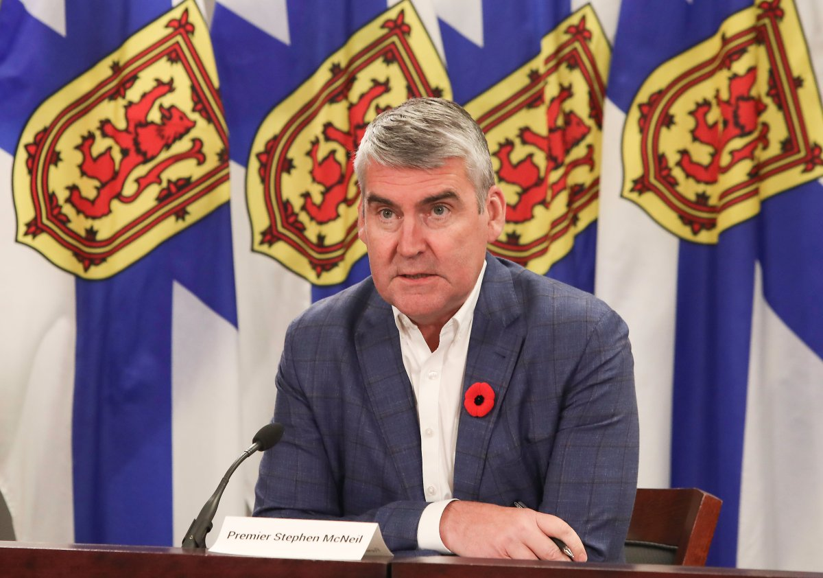 Nova Scotia Premier Stephen McNeil takes questions from reporters during a COVID-19 briefing in Halifax on Nov. 3, 2020.