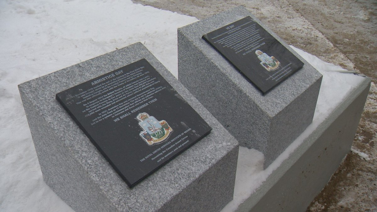 These two pedestals about Armistice Day and VE DAY are part of Regina's Royal United Services Institute's new project to preserve military history. They were installed near the cenotaph in Victoria Park in time for Remembrance Day Wednesday.