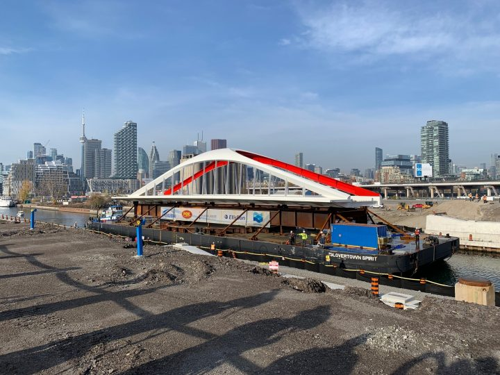 The bridge arrived at Toronto's waterfront Saturday morning.