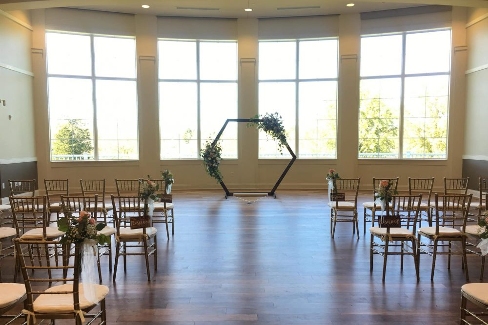 A wedding venue set up for Mikayla and Athony Bishop is shown on Oct. 31, 2020, at Cooper Cerek Event Center in Blue Ash, Oh.