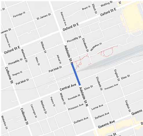 Road Closure: Adelaide Street North between Central Avenue and Pall Mall Street in London, Ont.
