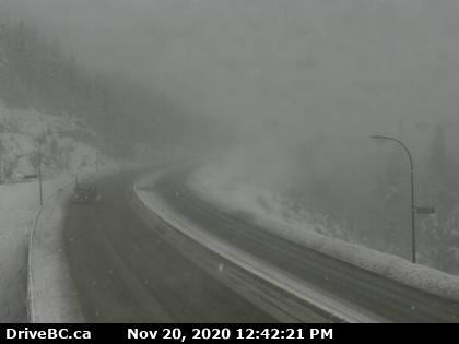This DriveBC webcam shows what the Coquihalla Highway looked like Friday afternoon at the Great Bear Snowshed.  The route between Hope and Merritt is expecting up to 25 centimetres of snow throughout the day Friday.