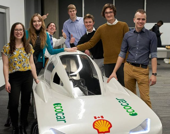 Students from the University of Alberta with their 2020 EcoCar design.