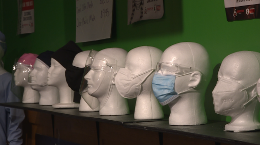 A variety of masks on display at Exchange PPE.