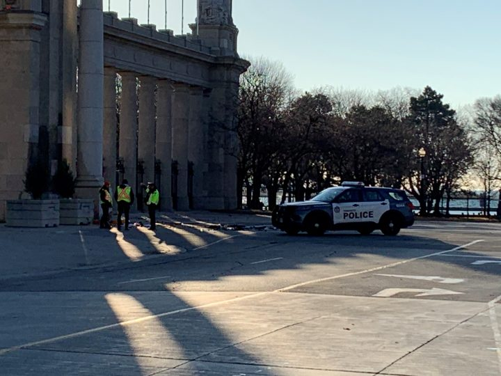 The scene of a fatal collision at Toronto's Princes' Gates on Sunday.