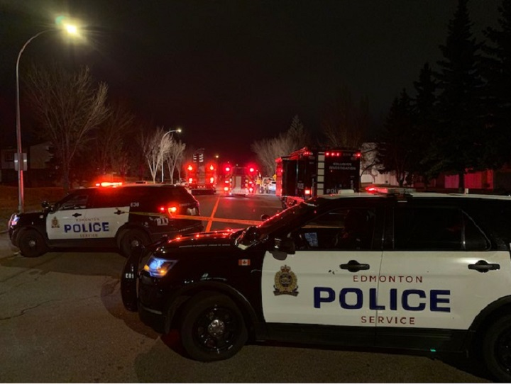 Edmonton police investigate a fatal crash in the area of 38 Avenue between 55 Street and 57 Street just before 2 a.m. Thursday, Nov. 5, 2020.
