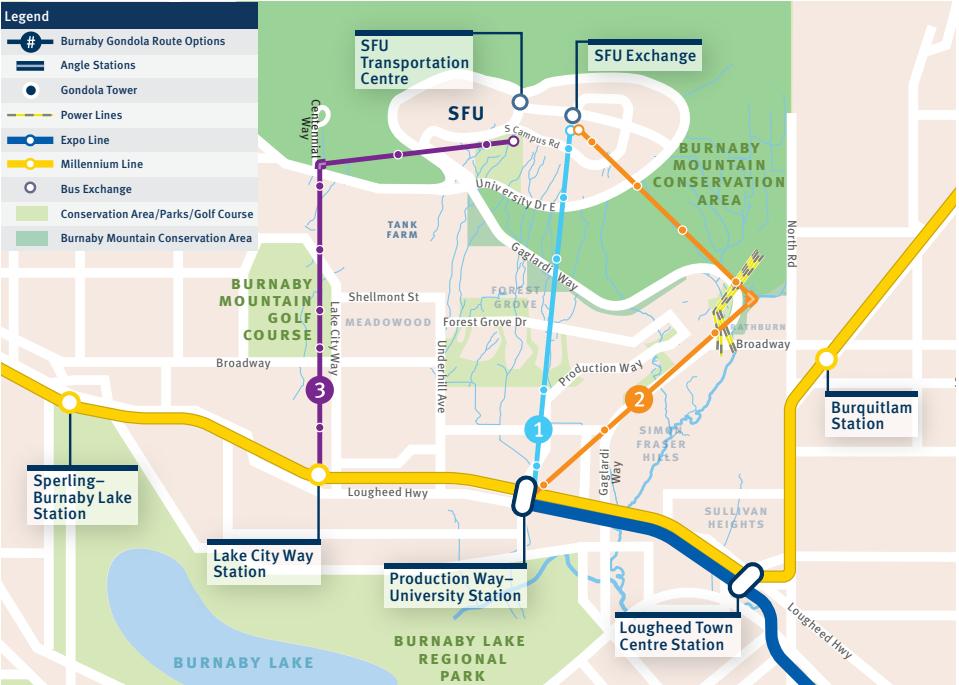 Map representing the three proposed gondola routes.