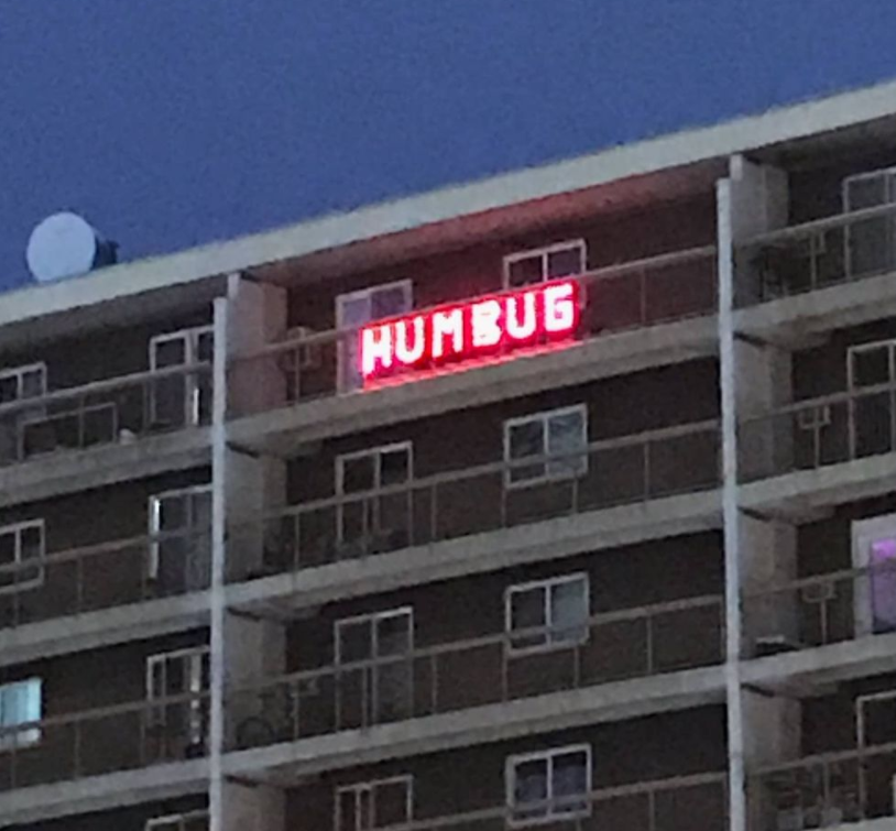 """The iconic """"HUMBUG"""" sign on Route 90 in Winnipeg."""