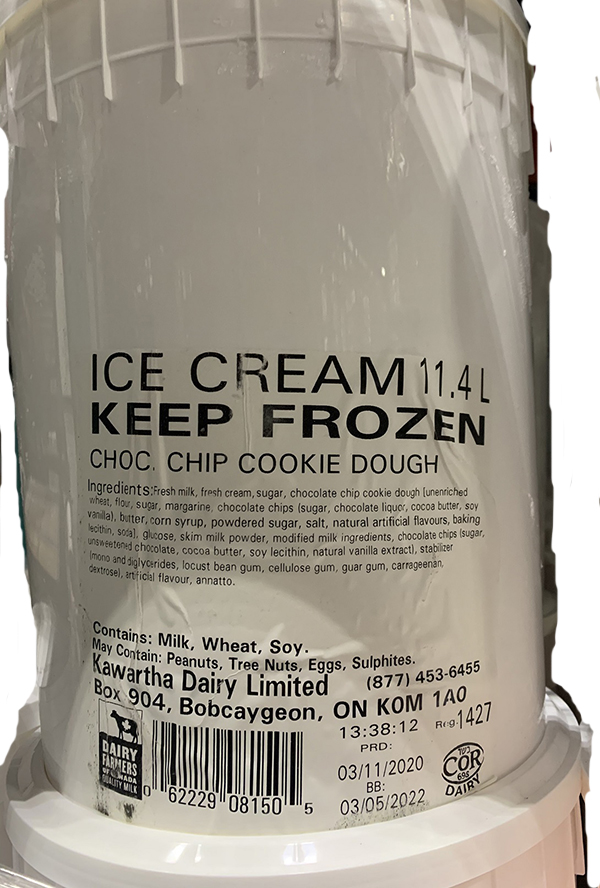 A label of one of the recalled products.