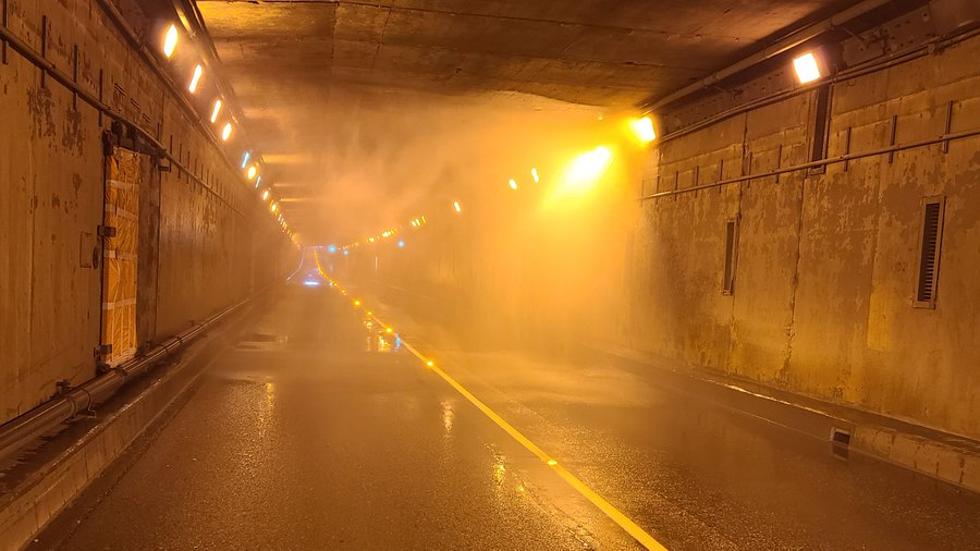 Water leaks from a damaged sprinkler struck by an oversized vehicle in the Massey Tunnel on Friday, Nov. 6, 2020.