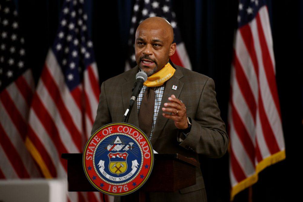 Denver Mayor Michael Hancock announces new coronavirus restrictions on Nov. 17, 2020.