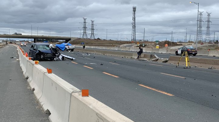The scene of a fatal crash on Highway 401 in Mississauga near Winston Churchill Boulevard.