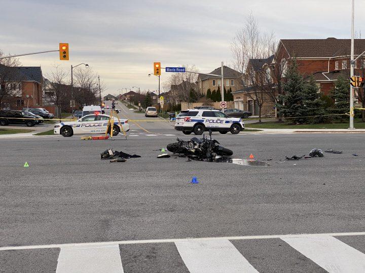 The scene of the crash in the area of Mavis Road and Novo Star Drive.