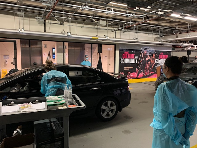 A peek inside the new drive-thru coronavirus testing site opening up in the parking garage at the National Arts Centre on Thursday, Nov. 19, 2020. Ottawa's COVID-19 testing task force is urging more residents to present for testing amid lower volumes at centres across the city.