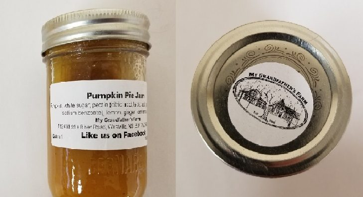 My Grandfather's Farm brand Pumpkin Pie Jam is being recalled in Nova Scotia because it may permit the growth of  a toxic bacteria.