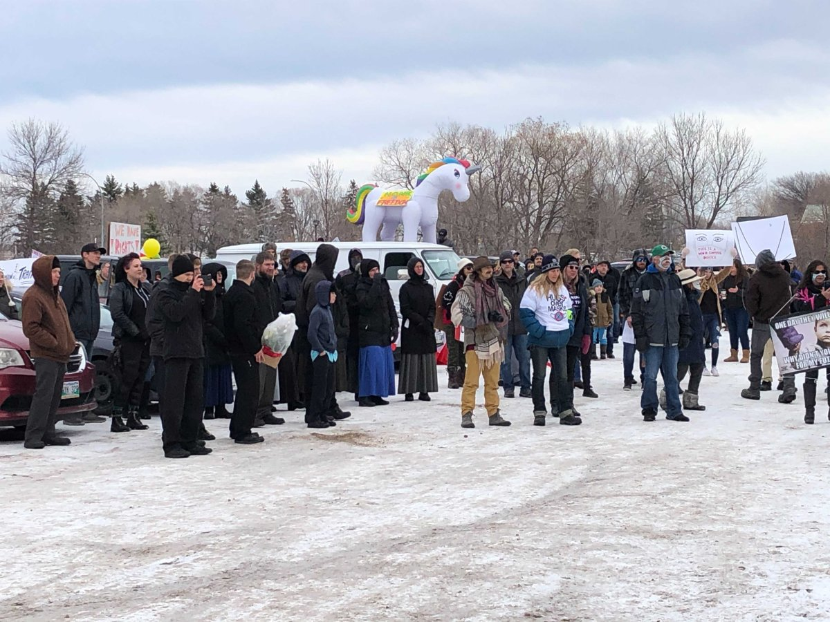 The Hugs over Masks rally in Steinbach Saturday.