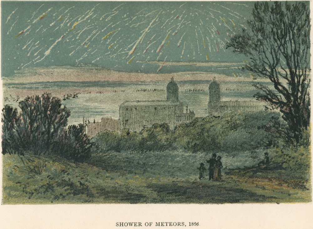 Shower of meteors (Leonids) observed over Greenwich, London, 1866 (1884). From Sun, Moon and Stars by Agnes Giberne.