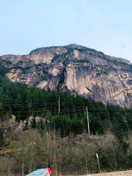 Rescue underway on the Stawamus Chief near Squamish after a base jumper became stuck. Photo Courtesy: Squamish RCMP.