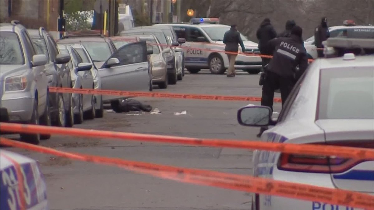 Montreal police investigate after a shooting in Villeray on Thursday, Nov. 19, 2020. A 23-year-old man has since been arrested.
