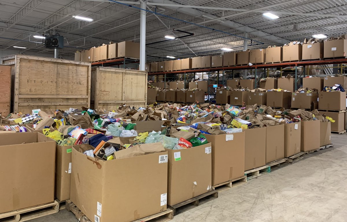 The Business Cares Food Drive warehouse in London, Ont.