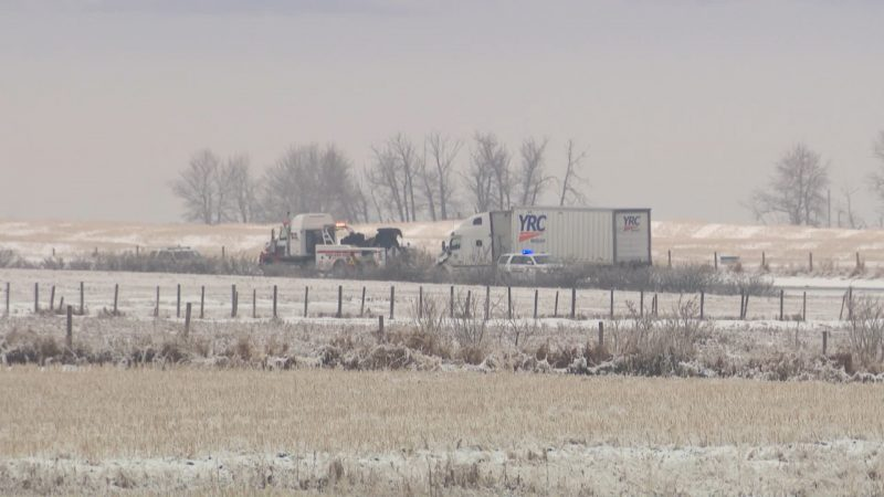 RCMP investigate a serious collision between a semi-trailer and a car on Highway 22x between Highway 797 and Highway 24 on Wednesday, Dec. 9, 2020.