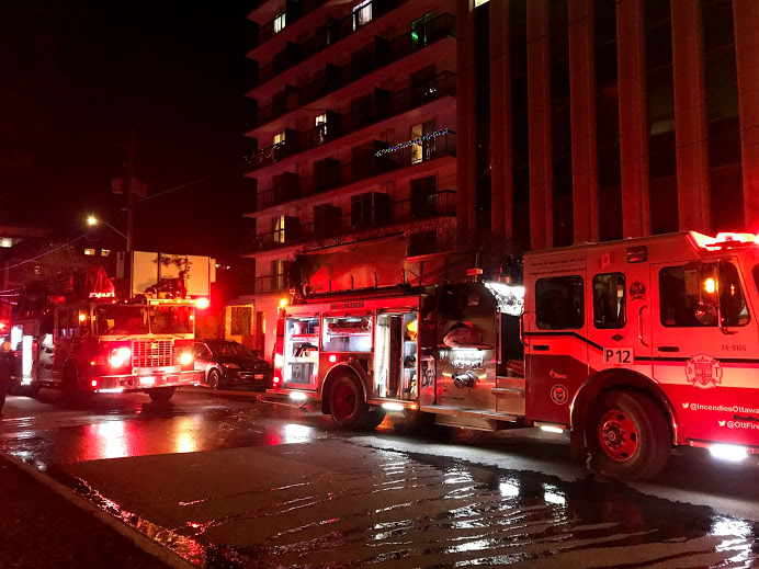Ottawa Fire Services attend the scene of a fire on Argyle Avenue on Monday, Dec. 7, 2020.