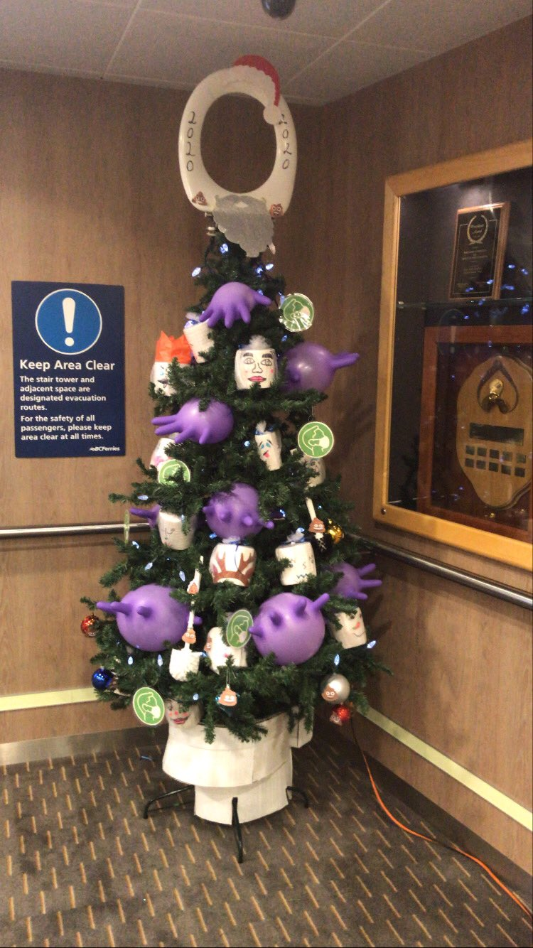 Toilet rolls and mask signage: BC Ferries Christmas tree celebrates all things 2020