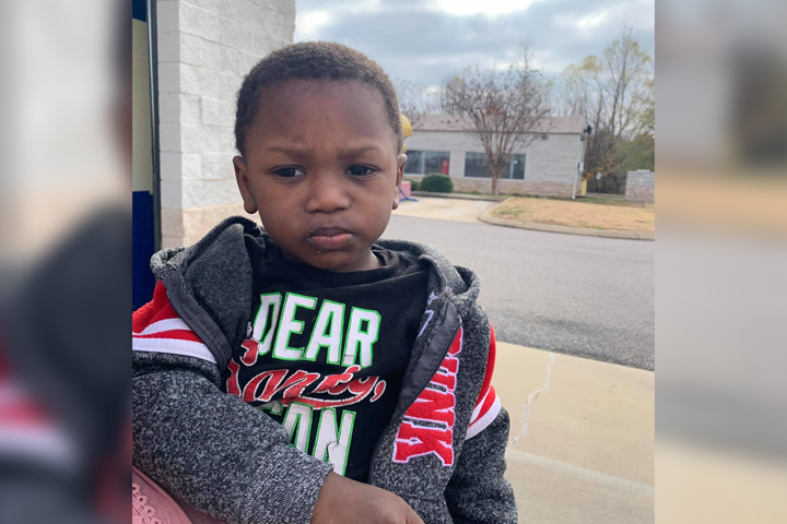 An unidentified child, 2, is shown in this handout photo from police in Southaven, Miss., on Dec. 14, 2020.