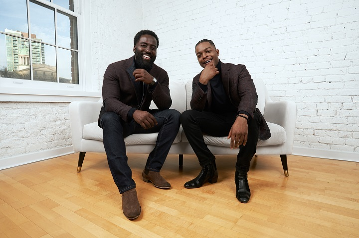Shamier Anderson, left, and Stephan James, Co-Founders and Co-Chairs of The Black Academy, pose in this undated handout photo. When Toronto-raised actor Stephan James got the inaugural Radius Award at last year's Canadian Screen Awards, he felt incredibly honoured but also a bittersweetness.