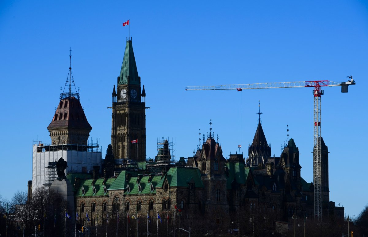 Construction renovations continue on Parliament Hill in Ottawa on Thursday, Dec. 17, 2020.