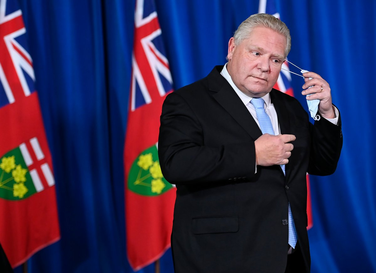 Ontario Premier Doug Ford holds a press conference at Queen's Park during the COVID-19 pandemic in Toronto on Monday, Dec. 21, 2020.