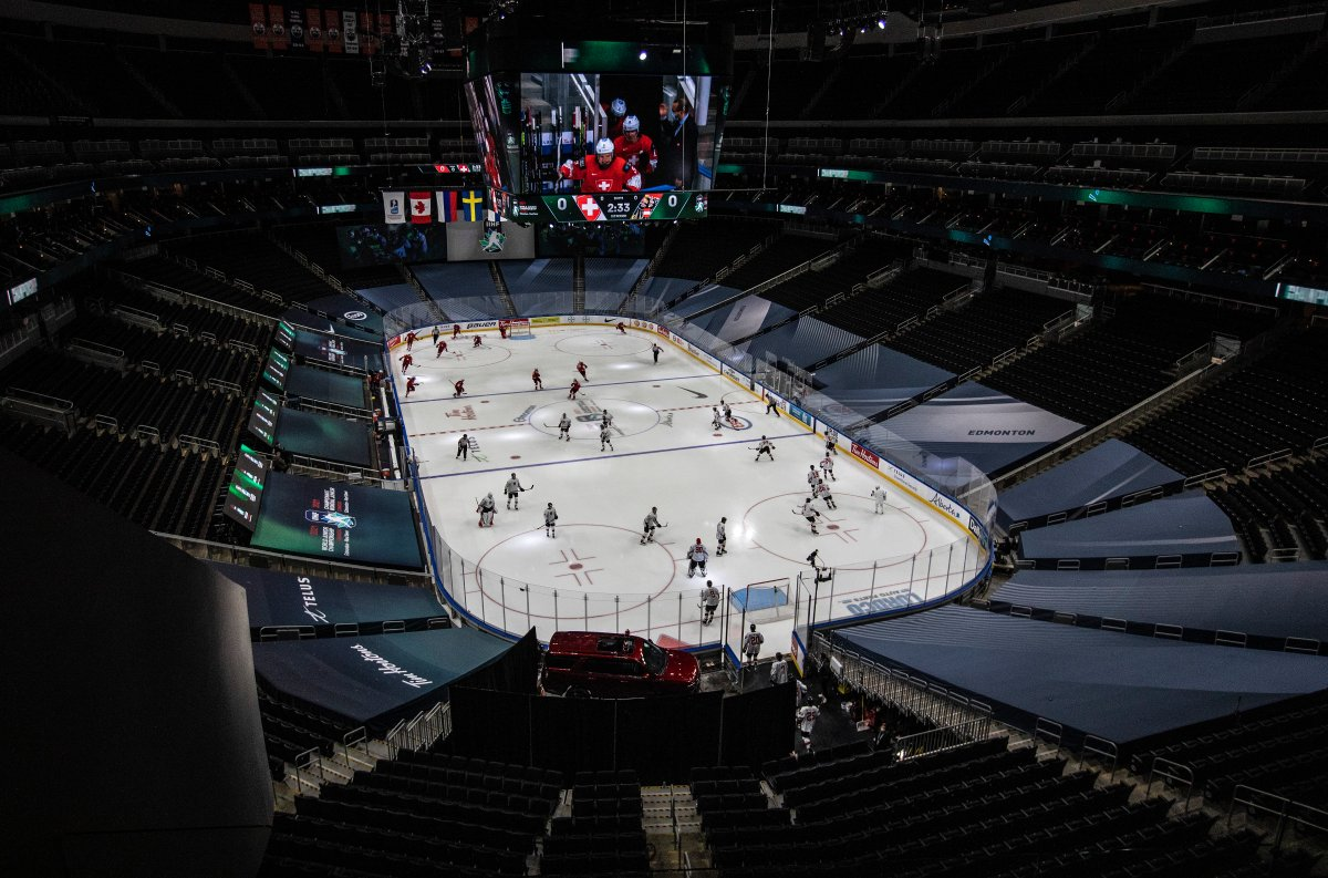Switzerland and Austria take to the ice before first period IIHF World Junior Hockey Championship pre-competition action in Edmonton on Tuesday, December 22, 2020. The tournament starts on Christmas Day.