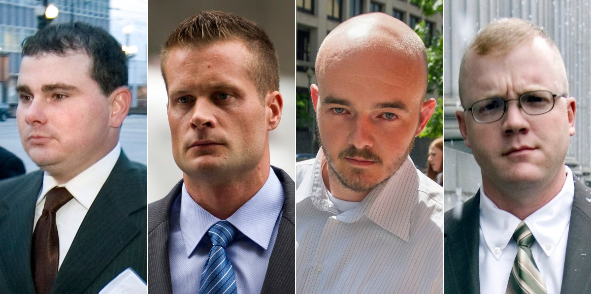 FILE - This combination made from file photo shows Blackwater guards, from left, Dustin Heard, Evan Liberty, Nicholas Slatten and Paul Slough. On Tuesday, Dec. 22, 2020, President Donald Trump pardoned 15 people, including Heard, Liberty, Slatten and Slough, the four former government contractors convicted in a 2007 massacre in Baghdad that left more a dozen Iraqi civilians dead and caused an international uproar over the use of private security guards in a war zone. (AP Photo/File).