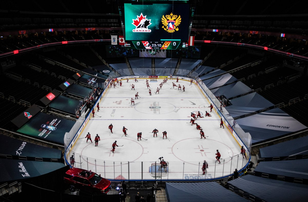 Canada and Russia take to the ice for warm up during IIHF World Junior Hockey Championship pre-competition action in Edmonton on Wednesday, December 23, 2020.