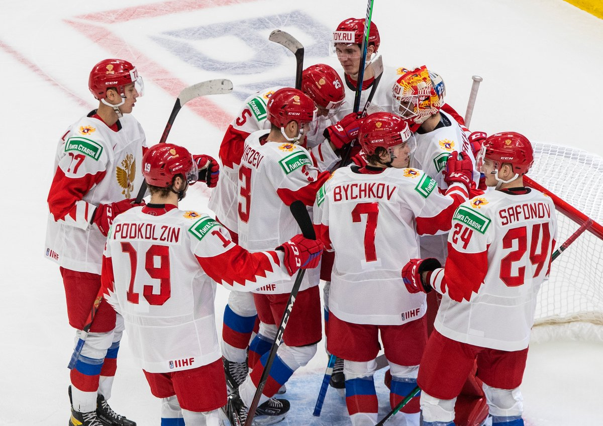 Russia celebrates the win over Austria during IIHF World Junior Hockey Championship action in Edmonton on Tuesday, December 29, 2020.