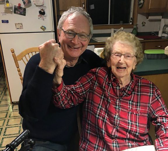 New Brunswick Premier Blaine Higgs and his mother, Bertha Higgs who turns 100-years-old on Dec. 31, 2020, are shown in a handout photo from the premier.
