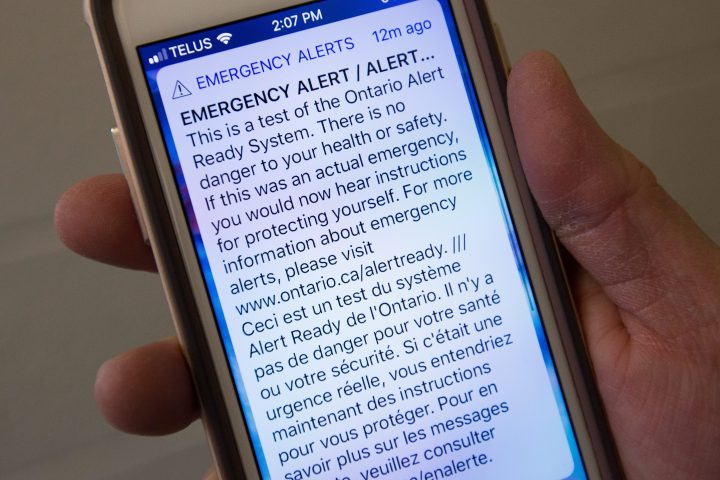 Emergency alert ready systems test on a smart phone in Kingston, Ontario, on Wednesday, Nov., 28, 2018.