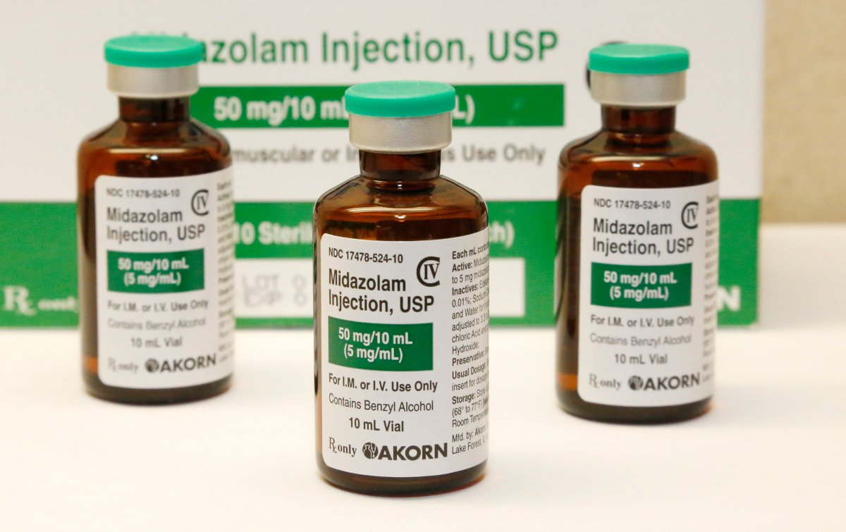 FILE - This July 25, 2014 file photo shows bottles of the sedative midazolam at a hospital pharmacy in Oklahoma City.