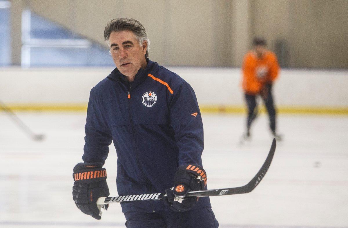 Edmonton Oilers' head coach Dave Tippett skates during training camp in Edmonton, Alta., on Tuesday July 14, 2020. THE CANADIAN PRESS/Jason Franson.