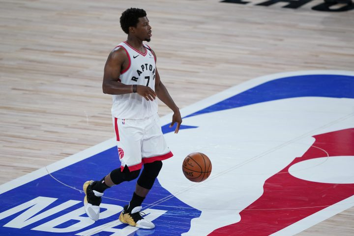 Toronto Raptors' Kyle Lowry (7) plays against the Los Angeles Lakers during the second half of an NBA basketball game Saturday, Aug. 1, 2020, in Lake Buena Vista, Fla.