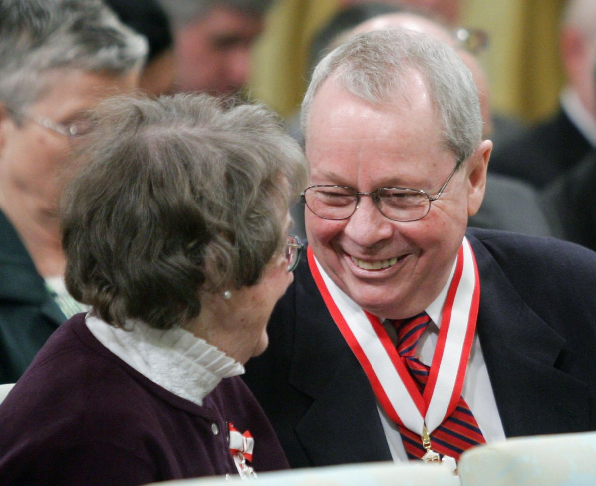 Former Toronto mayor David Crombie (right) laughs with Budge Wilson of Halifax after receiving the Order of Canada during a ceremony at Rideau Hall in Ottawa Friday, March 11, 2005.