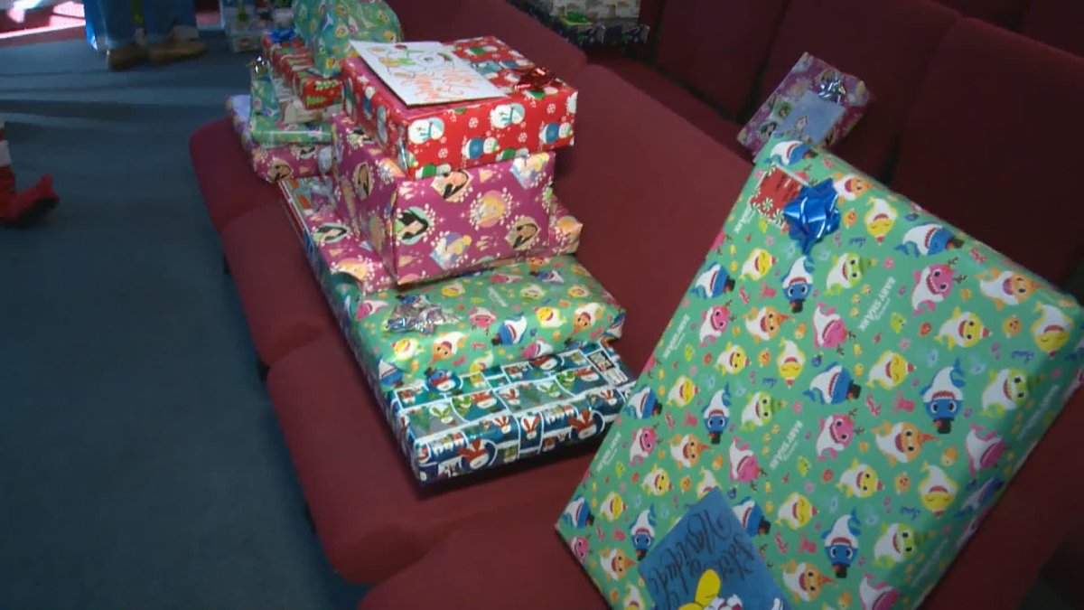 A Christmas toy drive is held in Calgary for 100 children, Saturday, Dec. 19, 2020.