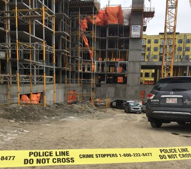 OHS and Calgary police investigate after a man dies at a Calgary construction site, Saturday, Dec. 12, 2020.