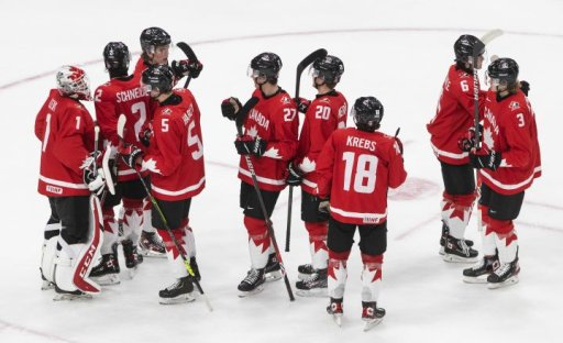 Canada celebrates the team's win after IIHF World Junior Hockey Championship action against Finland, in Edmonton, Thursday, Dec. 31, 2020.