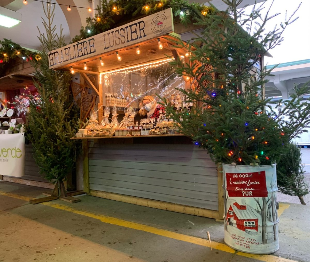 A stall at the Jean-Talon Christmas Market. Friday December 4th, 2020.