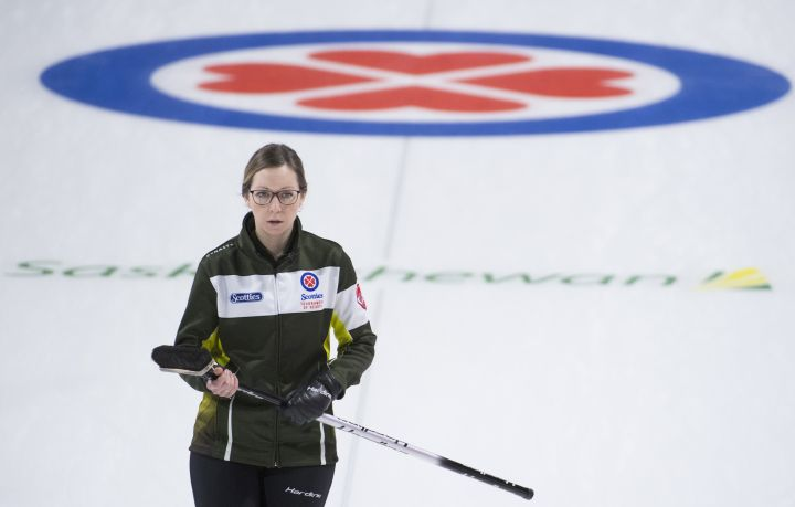 Team Northern Ontario skip Krista McCarville looks on during the 3 vs 4 Page playoff against team Ontario at the Scotties Tournament of Hearts in Moose Jaw, Sask., Saturday, February 22, 2020.