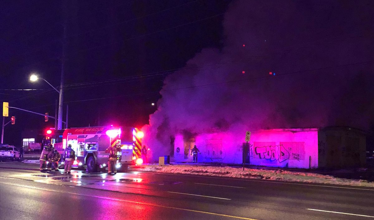 Guelph firefighters were called to the old Hamilton Corner's Garage early Saturday morning.