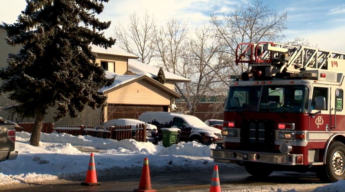 Fire crews were called to the fire at a residence in the 100 block of Castlebrook Drive N.E. at around 11:30 a.m. Monday, Dec. 28, 2020.