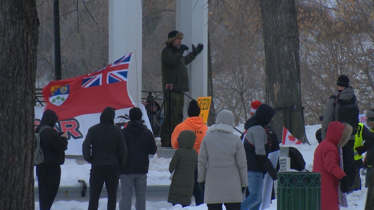Police blocked off several streets in downtown Saskatoon Saturday in respose to a protest against public health guidelines.