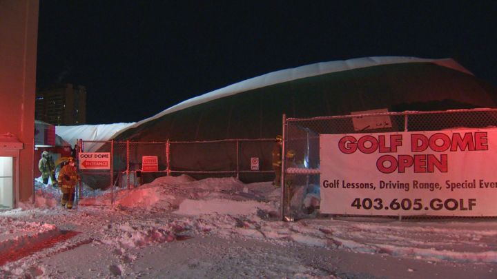 The Calgary Fire Department deployed its technical rescue team to the Golf Dome Tuesday, Dec. 22, 2020 after it collapsed.